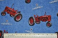 1/2 yard 100% cotton fabric Farmall Tractors farm country quilt apparel sewing