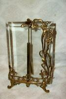 ANTIQUE FRENCH EASEL FRAME ART NOUVEAU BRASS BEVELED GLASS ORNATE