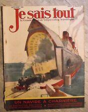 Magazine JE SAIS TOUT sciences populaire antique french mag 1928 navire
