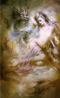Dream-art Oil painting Chinese Dunhuang fairy beauty girl & flying dragon canvas