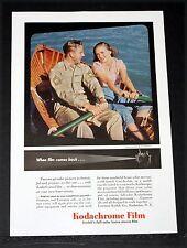 1945 OLD WWII MAGAZINE PRINT AD, KODAK KODACHROME, WHEN FILM COMES BACK POSTWAR!