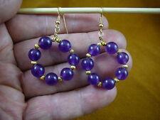 (Ee-800-2) Purple amethyst beaded gemstone hoop loop dangle circle earrings gold