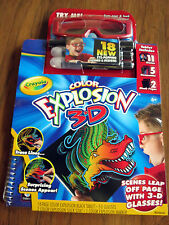 Crayola Color Explosion 3-D w/ Glasses Scene Appear Trace Draw Color Markers NIP