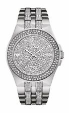 Bulova Crystal Men's 96B235 Quartz Pave Dial Silver-Tone Bracelet 42mm Watch