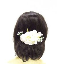 Ivory White Gypsophila Rose Orchid Flower Hair Comb Bridal Bridesmaid Vtg 3044