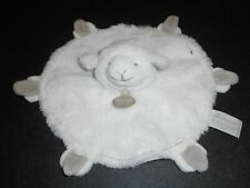 Doudou et Compagnie Mouton Agneau Plat Rond Mon Tout Petit Blanc Beige Taupe