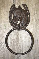 Cast Iron Antique Style Rustic HORSE Door Knocker WESTERN COWBOY TOWEL RING