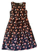 Sunny Girl Size 12 Dress Black Red Fit & Flare Pleat Floral Print Pockets