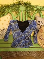 Women's small blue and leopard print blouse