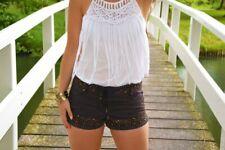 Topshop KATE MOSS Denim Beaded Embellished Hotpants Size Uk8 BNWT