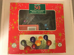 WOOLWORTHS 50 BERRY CHRISTMAS TREE LIGHTS WORKING BOXED VINTAGE SPARE SET BULBS