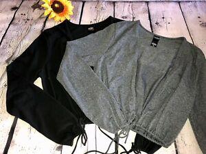 2 Victoria's Secret Jersey Cardigans Grey & Black NWOT Sz. M