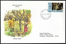 Ghana Fdc - World Food Day Plucking Cocoa - European Size - Cacheted - Nice!
