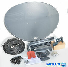 Freesat / Sky 80cm zone 2 satellite dish & quad lnb + 50m Black coax install kit