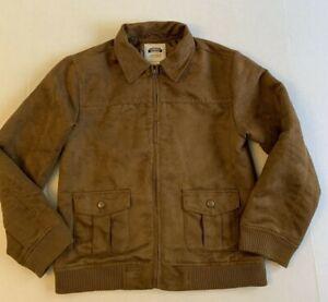Boys GYMBOREE Brown Faux Suede JACKET COAT Large L 10-12 Bomber Style w/Zipper