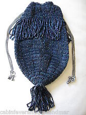 Antique Art Deco Blue Crochet Carnival Peacock Blue Glass Bead Drawstring Purse