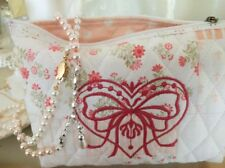 WHITEWASHED COTTAGE Shabby Chic Accessory Bag Kit / Jewelry Notions Cosmetic Bag