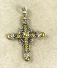 Barbara Bixby Yellow Sapphire & Olive Pearl Sterling & 18K Gold Amazing Cross