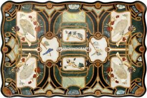 Natural Stone Marble Inlay Adorable Dining Table Top Birds Design Fine Art H3886
