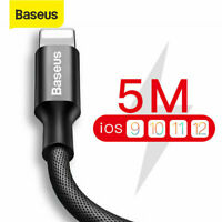 Baseus 5M USB Cable Fast Charging Lead Data Cord for iPhone XS Max XR X 8 7 Plus