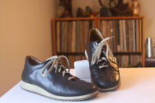 Geox Respira 39 Black Leather 1 Inch Wedge Laced Fashion Sneakers US Size 8.5-9