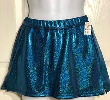 Gk Elite Cheer Skirt Adult Small Azure Sparkle Hologram School Fit As Nwt!