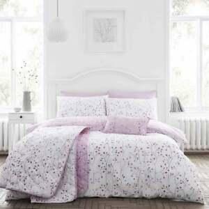 Cotton Rich Mauve Duvet Cover Set Hip Sprig in Double Bed Size Reversible
