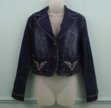 Goodies Jeans Womens Denim Jacket Size UK L bow detail flame embroidery