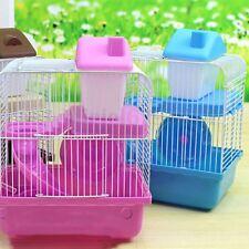 Hamster Gerbil Mouse Cage 2 Storey Levels Floor House Slide Food Water Bottle UK