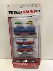 Power Trains 2.0 Car Carrier Car Pack  4 Train Cars & 2 Autos Red White Blue New