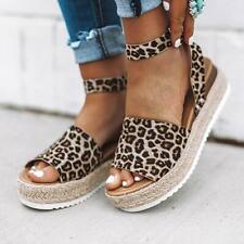 fa83b76b73d Womens Platform Sandals Espadrille Ankle Strap Comfy Summer Peep Toe Shoes  Size