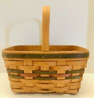 """1991 Longaberger Green And Red Christmas Theme 5.5""""X11.5"""" Basket Signed"""
