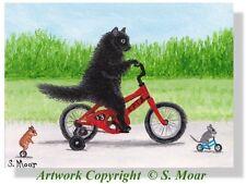 Black Kitten Cat Mouse Mice Hamster Bikes Trikes Race ACEO Limited Ed Art Print