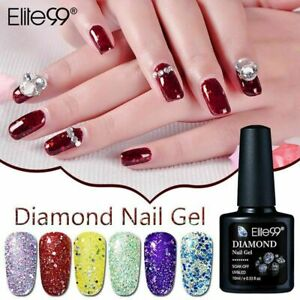 Elite99 Diamond Glitter Gel Nail Polish Manicure No Wipe Top Base Coat Lacuquer