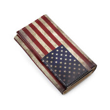 Premium Vintage US USA American Flag Print PU Leather Continental Wallet