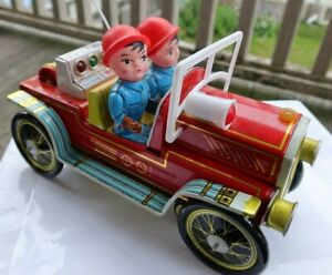 """RARE Vintage 10"""" Tin Toy Litho Fire Engine Car Battery Operated Truck Working NR"""