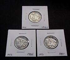 Brilliant Uncirculated Australia 1985 1986 1987 Ten 10 Cent Coins Ex Mint Sets