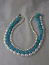 SIGNED LH 925 STERLING TURQUOISE BEAD  & PEARL TRIPLE STRAND NECKLACE