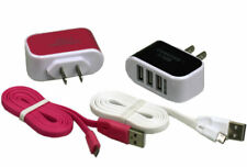 Wall AC Adapter Charger For Samsung Universal 2 in1 Triple USB Port Cable