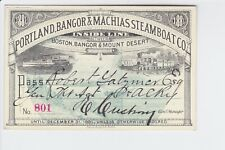 1881 Portland, Bangor & Machias Steamboat Co., annual pass, great graphics