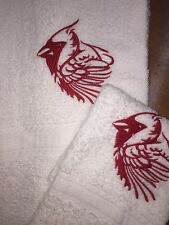 Embroidered Hand Towel & Wash Cloth Set Red Cardinal H1234