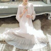 Women Vintage Victorian Nightdress Lolita Nightgown Sleepwear Sheer Ruffle Cute