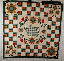 Printed Fabric Wall Hanging Quilt Pattern Green Patchwork Flower Watering Can