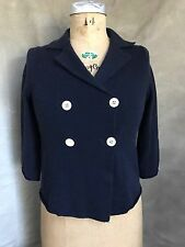 J CREW Collection 100% CASHMERE Navy Blue SAILOR CARDIGAN SWEATER XS 3/4 Sleeves