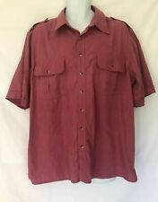Vintage John Blair Men's Short Sleeve Shirt Button Down Front Pockets Size XLG
