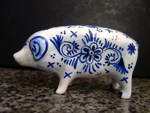 ANTIQUE FRENCH ~ ABEL GIRARD APREY ~ FAIENCE POTTERY ANIMAL PIG  ~ DELFT