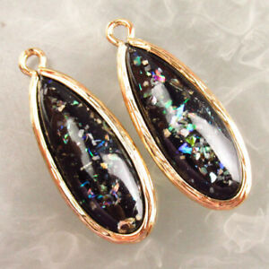 2Pcs 26x12x5mm Wrap Black Shell Opal Teardrop Pendant Bead M59137