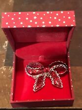 """Enameled & Crystals Christmas Bow Pin New In Gift Box """"Merry & Bright"""""""