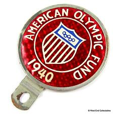RARE 1930s Car Badge - American Olympic Games Fund 1940 - FLASHAD USA Olympics