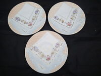 "3 - Decorative Vintage Majolica Napkin Plate Peach with Floral Designs 8 1/4"""""